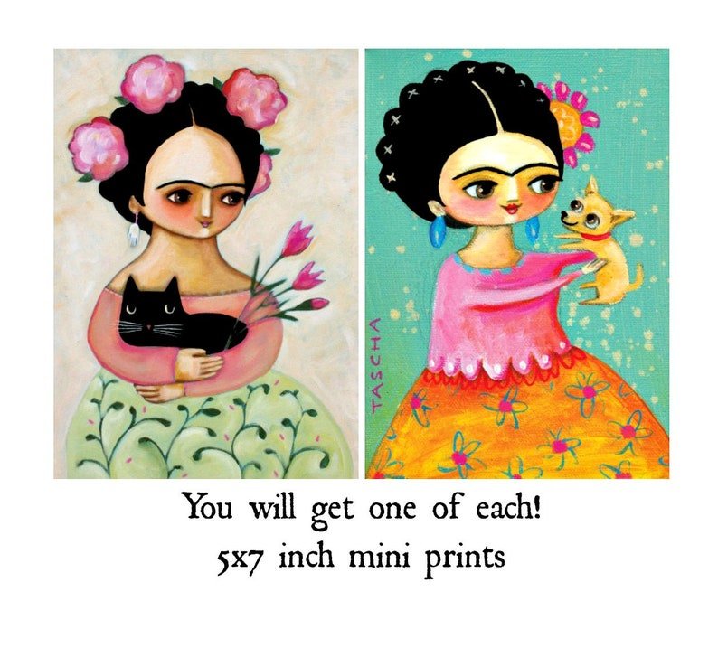 SET of TWO mini 5x7 print Black cat and tiny Mexican Chihuahua image 0
