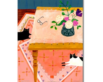 ORIGINAL cat table painting two cats on rug floral cat art rug painting black cat folk art by Tascha 14x11 acrylic painting