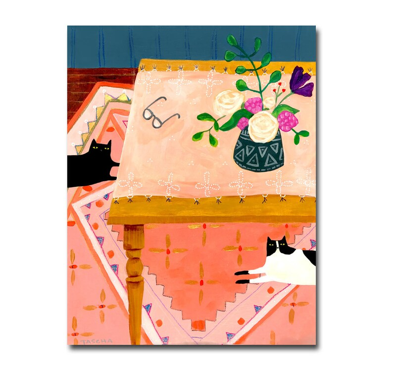 ORIGINAL cat table painting two cats on rug floral cat art rug image 0