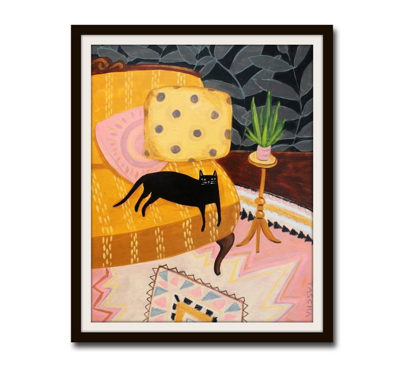 PRINT black cat on mustard sofa with plant & aztec rug cat image 0