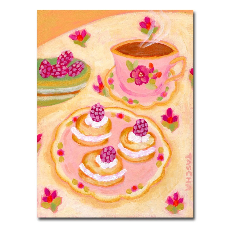 ORIGINAL sweet treats painting TEA TIME pastries acrylic image 0