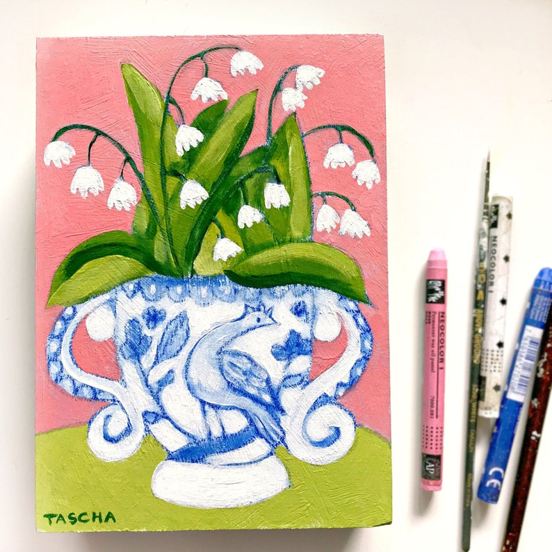 Original Lily of the Valley painting Blue and White vase image 0