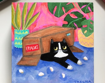 Original Tuxedo Cat in Box painting cute kawaii black and white cat package day cat folk art naive small painting acrylic on wood by TASCHA
