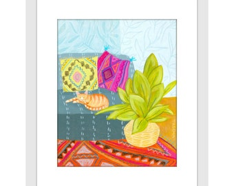 PRINT orange cat painting cute boho kitty plant and rug decor print of painting by TASCHA