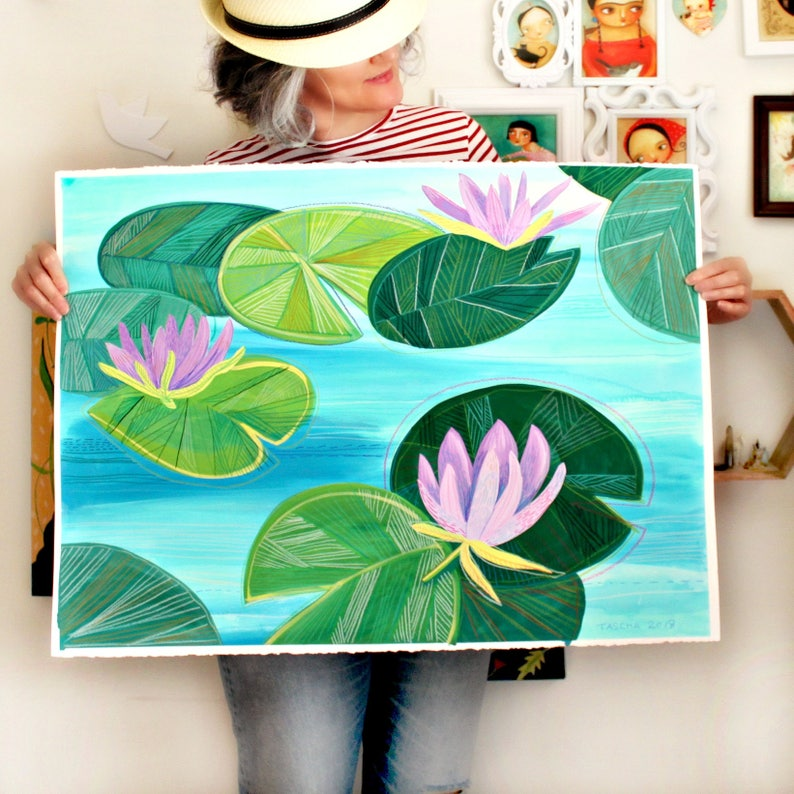 Original Water Lilies painting on paper HUGE hand painted image 0