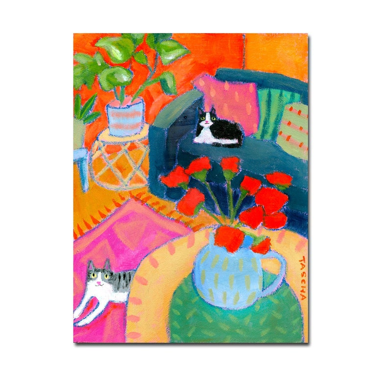 ORIGINAL lounge cats painting red carnations plant rug art image 0