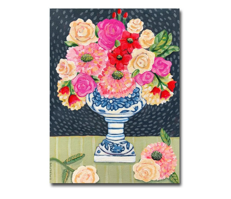Original Floral painting Colorful flowers in blue and white image 0