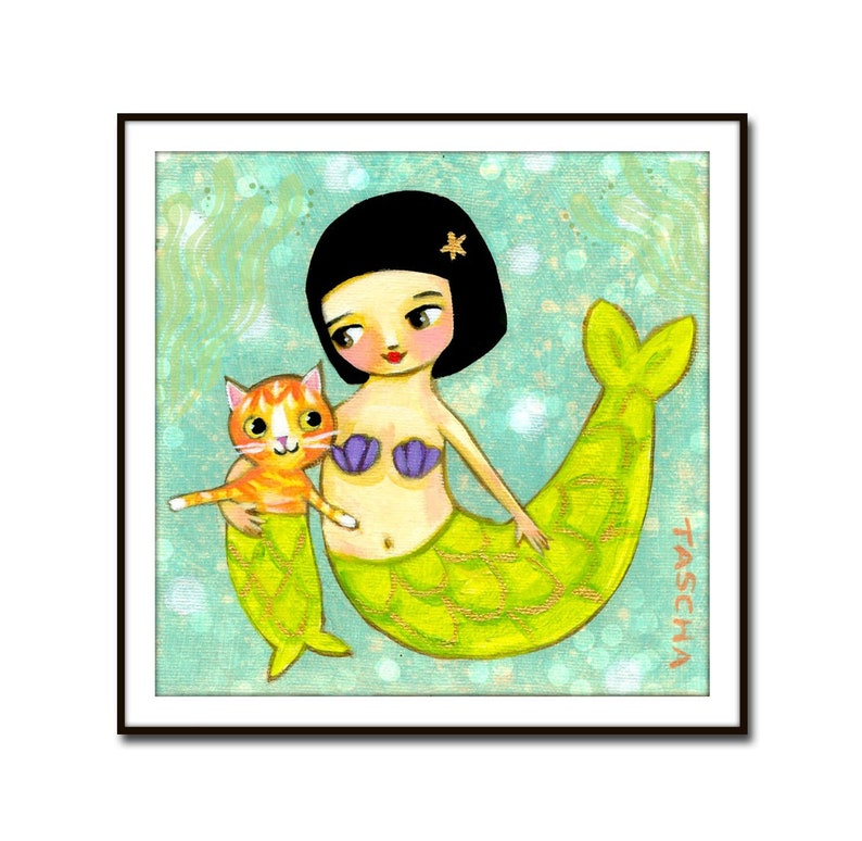 PRINT mermaid and orange mercat sweet orange tabby cat mermaid image 0