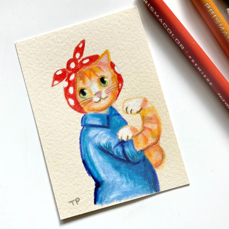 ORIGINAL We Can Do It orange tabby cat DRAWING cat empowerment image 0