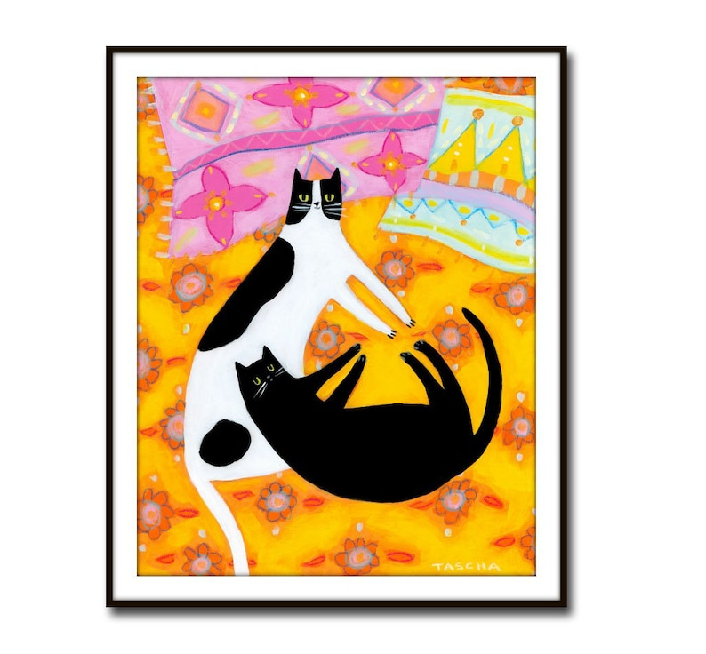 PRINT two cats on yellow quilt poster print of painting CAT image 0