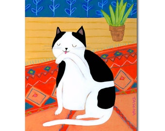 ORIGINAL cat portrait painting CAT washes face on fancy rug cute cat folk art painting naive art by artist TASCHA acrylic painting art