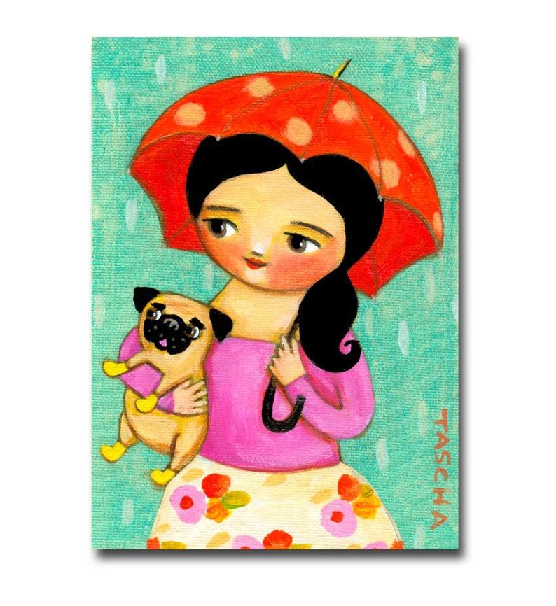 ORIGINAL rainy day PUG painting cute rain umbrella dog walker image 0