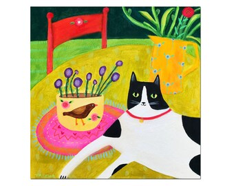 Original Cat on Table with Bird Vase painting 12x12 acrylic on wood naive cat folk art square large size by artist TASCHA