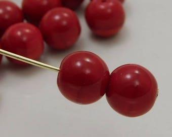 8mm Czech Druk Beads Round Opaque Red (15pk) si-8DK-OpRed