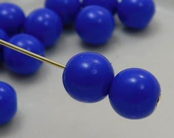 8mm Czech Druk Beads Round Opaque Blue (15pk) si-8DK-OpBlue