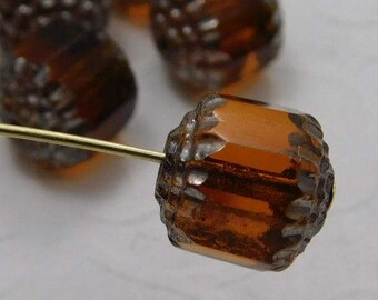 Czech Glass Cathedral Beads 10mm Fire Polish Dark Topaz with Silver (Qty 6) SRB-10FPC-DTop-S