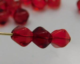 Czech 6mm Bicone Pressed Glass Beads Siam Ruby Red (25pk) SI-6BC-RubyR