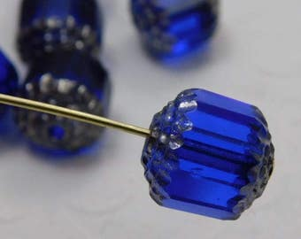 Czech Glass Cathedral Beads 10mm Fire Polish Cobalt with Silver (Qty 6) SRB-10FPC-Cob-S