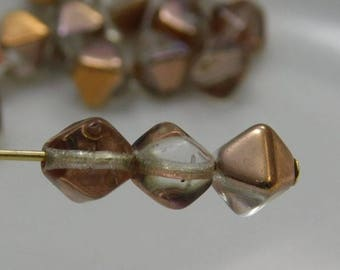 Czech 6mm Bicone Pressed Glass Beads Apollo Gold Luster (25pk) SI-6BC-AGL