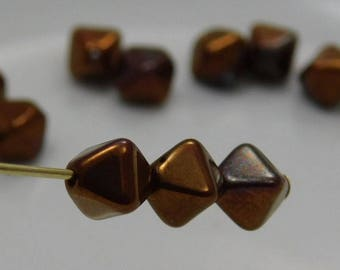Czech 6mm Bicone Pressed Glass Beads Opaque Bronze Red Luster (25pk) SI-6BC-BRL