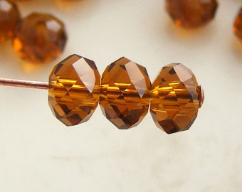 MW-6x4R-LTAB 6x4mm Crystal Rondelles Faceted Beads Light Topaz AB Abacus Qty 15