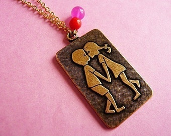 Vintage Kitsch Kissing Kids 70's Pendant Necklace
