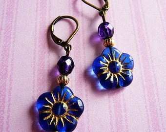 Midnight Blue Flower Earrings