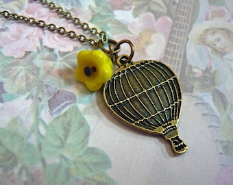 Yellow Flower Hot Air Balloon Necklace