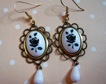 Classic Black Rose Cameo Earrings
