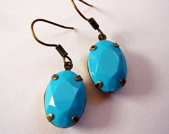 Turquoise Opaque Dangle Earrings