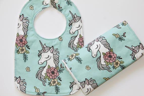 Unicorn bandana bib baby girl bib bandana bib Unicorn bib bavoir bandana baby bib handmade Unicorn baby dribble bib Bavoir gift