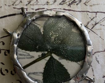 Four leaf clover soldered recycled glass pendant