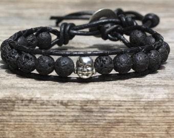 Happy Buddha Lava Black Leather Wrap Bracelet, Yoga Bracelet, Healing Bracelet, Boho Bracelet, Essential Oil Bracelet, Aromatherapy Jewelry