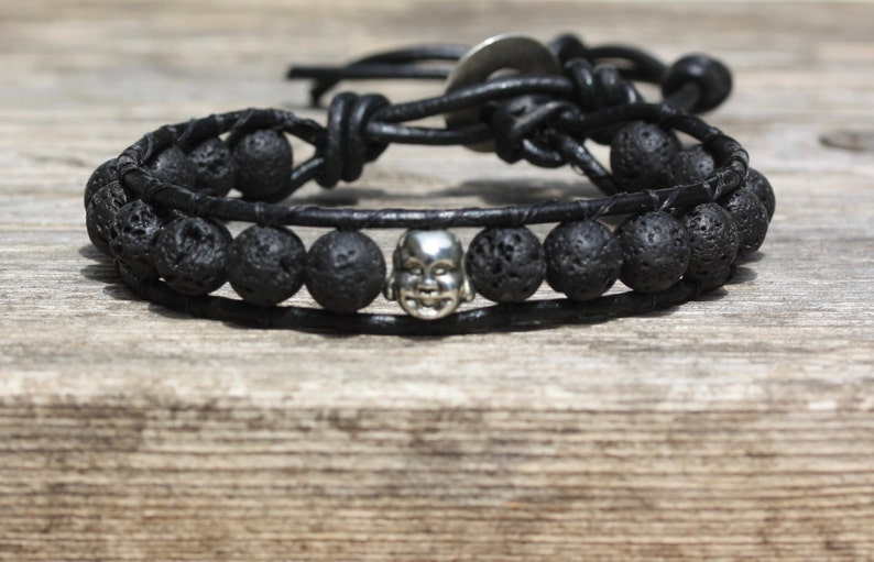 Happy Buddha Lava Black Leather Wrap Bracelet Yoga Bracelet image 0