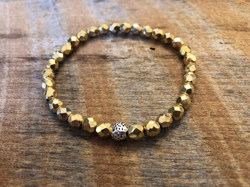 Crystal Stretch Bracelet/Stacking Bracelet/Gold image 0