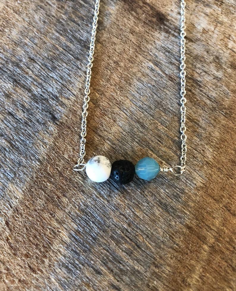 Minimalist Necklace/Diffuser Jewelry/Lava Stone/White image 0