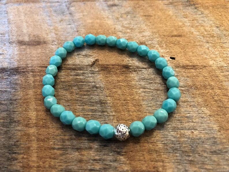 Crystal Stretch Bracelet/Stacking Bracelet/Opaque Turquoise image 0