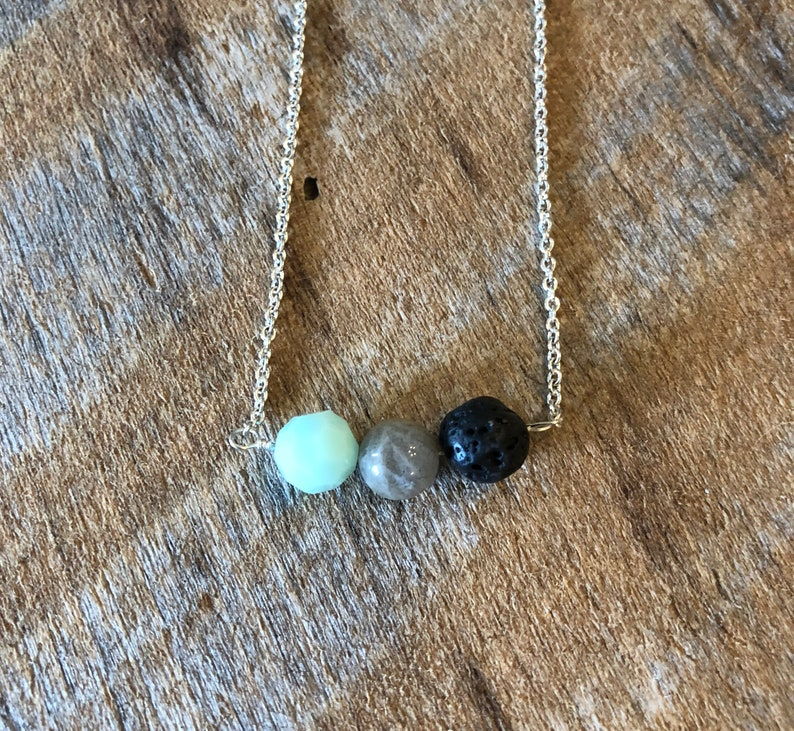 Minimalist Necklace/Diffuser Jewelry/Labrodorite/Swarovski image 0
