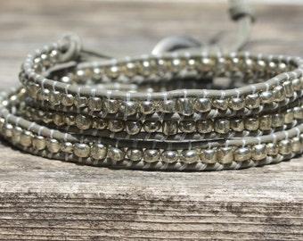 Grey Silver Skinny Wrap Bracelet, Triple Wrap Bracelet, Boho Bracelet, Yoga Bracelet, Stacking Bracelet, Layering Bracelet