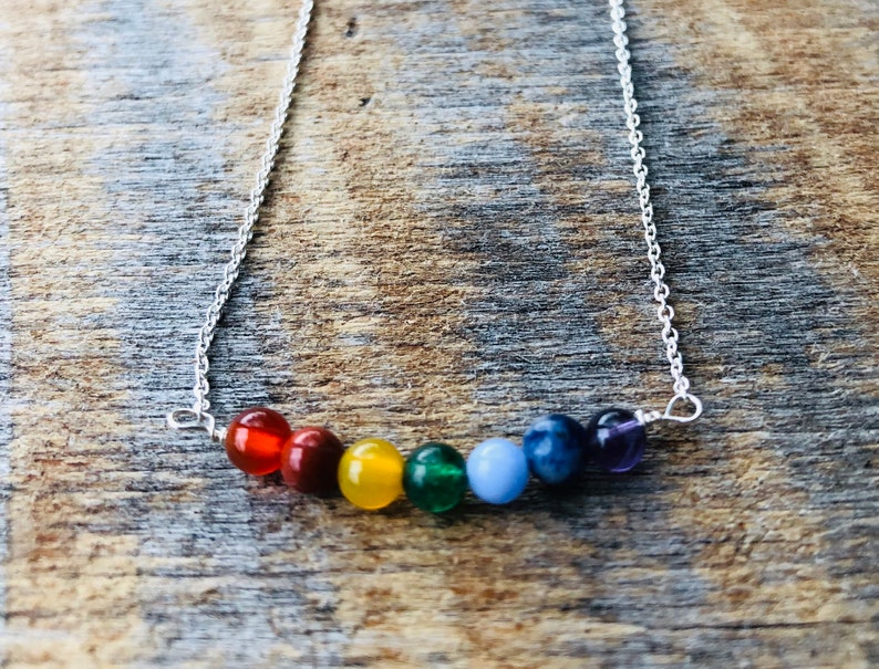 Beaded Bar Pendant/Bar Necklace/Layering/Chakra image 0