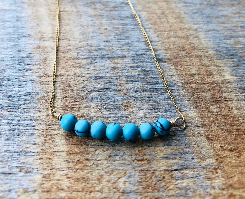 Beaded Bar Pendant/Bar Necklace/Layering/Turquoise image 0