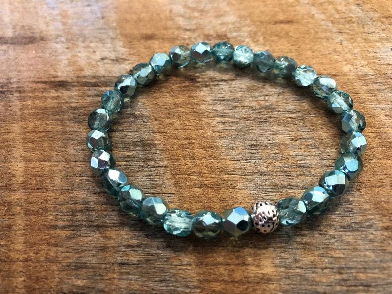 Crystal Stretch Bracelet/Stacking Bracelet/Shiny Turquoise image 0