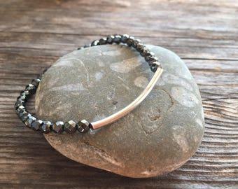 Hematite Skinny Bracelet, Yoga Bracelet, Healing Bracelet, Stretch Bracelet, Minimal Bracelet, Boho Bracelet, Silver Bar Bracelet