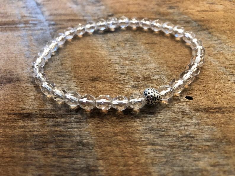 Crystal Stretch Bracelet/Stacking Bracelet/Clear Crystal image 0