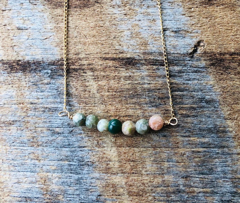 Beaded Bar Pendant/Bar Necklace/Layering/Mixed image 0