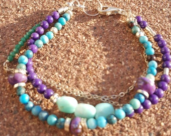 Calypso Amazonite, Turquoise, Jade, Glass and Sterling