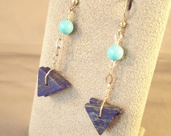 PARIS Lapis, Turquoise and Sterling Earrings