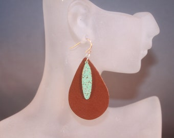 MIXED MEDIA Faux Leather and Enamel Earrings