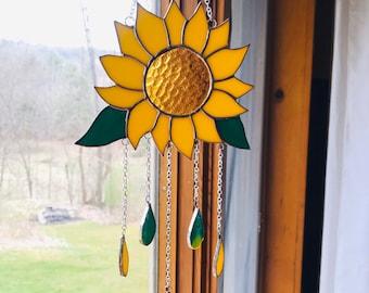 SUNFLOWER Stained Glass Wind Chime Sun Catcher Windchime Suncatcher By LaHeir
