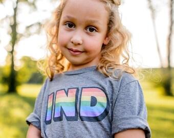 Youth Indiana Rainbow Shirt, LGBTQ Pride Month Tee, Unisex Kids TShirt, Hoosier Pride Gift